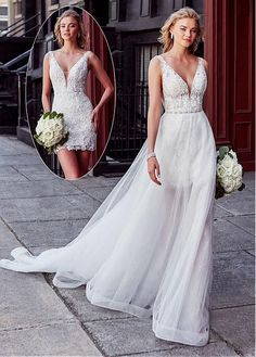 Marvelous Tulle V-neck Neckline 2 In 1 Wedding Dress With Lace Appliques & Beadings & Detachable Skirt