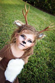 Diy Halloween Costumes For Kids Deer Costume - Halloween Makeup Costume Bambi, Girl Deer Costume, Deer Costume Diy, Deer Costume For Kids, Halloween Bebes, Diy Halloween Costumes For Kids, Diy Costumes, Diy Reindeer Costume, Reindeer Makeup