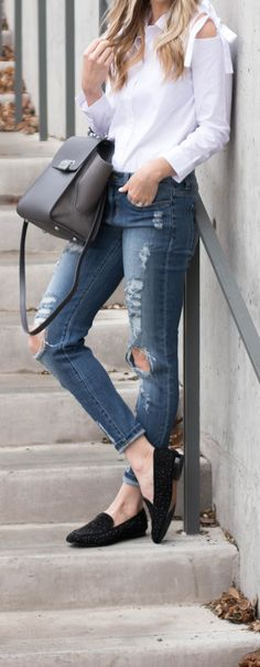 Structured Top with Distressed Boyfriend Jeans and Loafers // Everyday Casual Style - Life By Lee