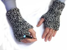 Gray crochet armwarmers for men fingerless mittens  by TinyOrchids, $25.00
