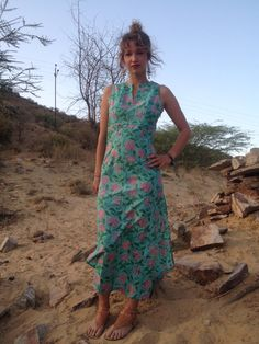 Blue Long dress with double  side split made by LoudandProudLondon