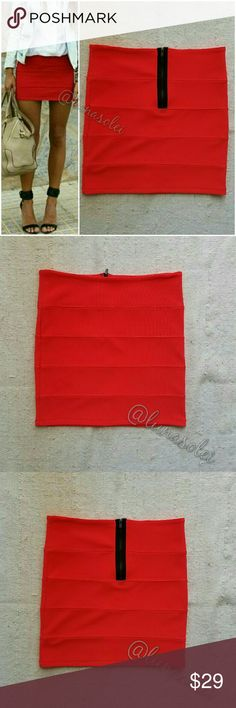 """NWOT LF Red Bandage Bodycon Mini Skirt XS """"Poppy"""" red bandage skirt from LF. It's a vibrant red color with awesome contrast black zipper in the back. Brand new without tags. By Millau. SZ XS. 65% Cotton/35% Polyester. Unlike other lines at LF, Millau tends to run truer to size, but still check these flat measurements: 15"""" Length, 13.5"""" Waist, 15"""" Hips. Does have some Stretch. Retailed for $88 at LF.  Please check out my closet for more NEW LF items to bundle with discount and save more with…"""