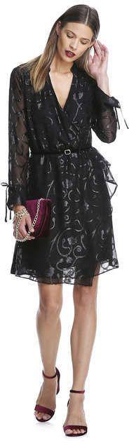 Joe Fresh Women's Print Wrap Shirt Dress, JF Black (Size S)