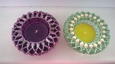 Katka Ostapowyczová Beaded Bracelet Patterns, Beaded Bracelets, Beaded Boxes, Candle Making, Tea Lights, Diy And Crafts, Beading, Crochet Earrings, Candles