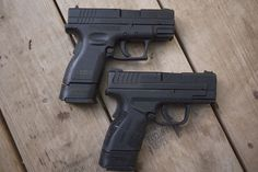 Original XD above, Mod 2 below Springfield Xd Mod 2, Springfield Armory, Handgun, Firearms, Springfield Xd Subcompact, New Mods, Hello To Myself, Pistols, Tactical Gear