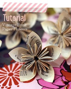 Paper Flower Tutorial - Collect cheap books from thrift stores and turn them into wedding centerpieces