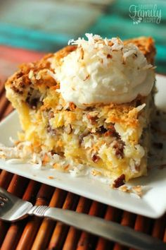This Island Pecan Pie recipe comes from a famous pie diner in Arkansas. It is loaded with pineapple, coconut, and pecans in a delicious creamy filling. You have got to try this Island Pecan Pie! Pecan Desserts, Coconut Desserts, Pecan Recipes, Pie Recipes, Delicious Desserts, Dessert Recipes, Cooking Recipes, Family Recipes, Sweet Desserts