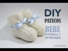 Tutorial y patrones patucos de bebé tejidos - YouTube Baby Sweater Knitting Pattern, Knitted Baby Cardigan, Knitted Booties, Hand Knitted Sweaters, Baby Sweaters, Diy Crafts Knitting, Knitting For Kids, Crochet For Kids, Baby Knitting
