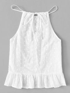 Top de tirante de cuello con cordón bajo fruncido -Spanish Romwe Short Sleeve Collared Shirts, Summer Outfits, Cute Outfits, Baby Dress Patterns, Kurti Designs Party Wear, Cami Tops, Blouse Designs, Fashion Outfits, Couture