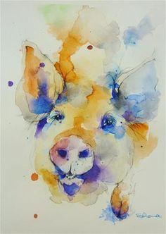 "Daily Paintworks - ""Little Pig, Little Pig"" - Original Fine Art for Sale - © Shona Nicholls"