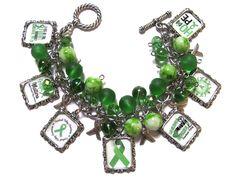Cerebral Palsy Altered Art Charm Bracelet Shades of Green
