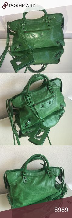 Authentic Balenciaga bag in dark green ❤️ Authentic from my collection. In great shape. Comes with a dustbag.  Measurements 15 inches wide at the bottom.  10 inches without handle drop. 14 inches with the handle drop.  Minor signs of wear on the corners.  Inside clean no rips anywhere.  No trades.   Balenciaga Bags Shoulder Bags
