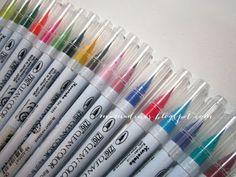 Mama Dini's Stamperia: Watercolor brush markers: Akashiya Sai and Zig Clean Color