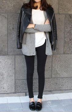 easy layers/ white top / grey cardigan / black denim / leather moto jacket / patent flats