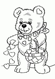 valentines coloring pages Day A couple of teddy bears on