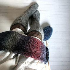 knitting & white floorboards.