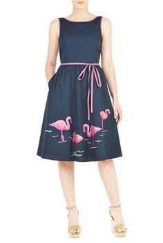 I <3 this Flamingo embellished cotton poplin dress from eShakti