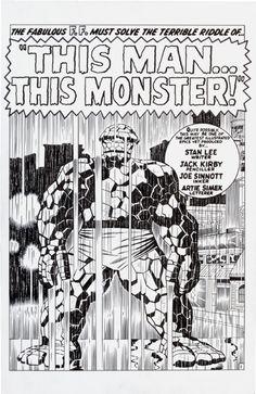 Jack KIRBY / Mc Corkindale 1966 FANTASTIC FOUR 51 TITLE SPLASH The THING Comic Art
