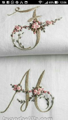 How To Embroider Letters, Embroidery Letters, Embroidery Hoop Art, Ribbon Embroidery, Bullion Embroidery, Embroidery Stitches, Machine Embroidery, Border Embroidery Designs, Hand Embroidery Tutorial