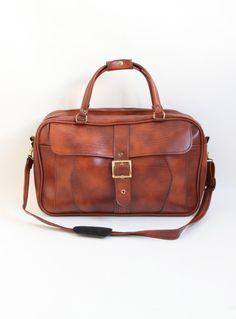 Vintage Brown Vinyl Travel Bag