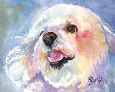 Bichon Frise Art Print of Original Watercolor by dogartstudio, $24.50