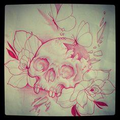 Custom tattoo sketch by Jessica Wright, Capital Tattoo. IG: jackassica #cracked…