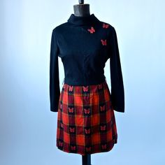 Vintage Mini Dress Red Plaid and Black 70's by prettyinprague, $48.00