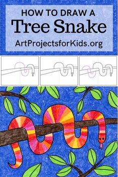 Learn how to draw a Tree Snake with this fun and easy art project for kids Simple step by step tutorial available howtodraw artprojectsforkids treesnake - Art Projects For Adults, Toddler Art Projects, Easy Art Projects, Art Lessons For Kids, Art Lessons Elementary, Art Project For Kids, Easy Art For Kids, Art Education Projects, Summer Art Projects