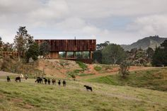 This hillside home goes for the rusty and rustic look in a big way