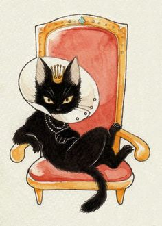 The Queen is not amused by the plastic collar that ruins her sleek lines. by Tara #CatIllustration