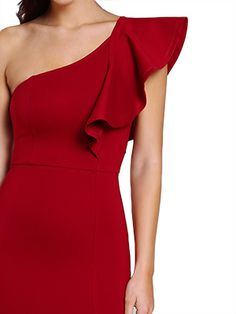 Aegea One Shoulder Slit Dress #fashion #winter #dress #red