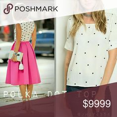 new|  IVORY POLKA DOT TOP Super fun and chic Ivory Polka Dot top. Short pleated sleeve. Black polka dots. Keyhole with button in back. Fits TTS.   ☞Fabric Content: 100% Polyester  ☞Sizes available: S M l ☞MODELING SIZE MEDIUM   PRICE FIRM Tops