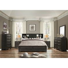 Roundhill Furniture Loiret Wood 6 Piece Bedroom Set Size: King