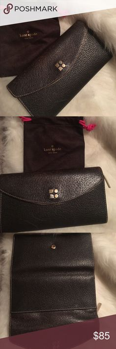 ♠️Kate Spade♠️ Wallet Brown Kate ♠️ wallet.  Body is pebbled leather and the top is distressed reminiscent of a bomber jacket.  On the top left hand side on the interior is a pen mark.  Can be seen in the photos.   Very nice wallet.    If you are wanting new, don't buy this one.     Check out my other items to bundle and save.  💕 kate spade Bags Wallets