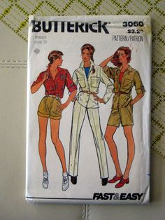 Butterick Pattern,Misses jacket,pants,shorts,vintage pattern,Safari,retro pattern,size 8 sewing pattern at Designs By Willowreek on Etsy by DesignsByWillowcreek on Etsy Vintage Patterns, Sewing Patterns, Retro Pattern, Safari, Etsy Shop, Shorts, Pants, Jackets, Design