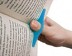THUMBTHING: Billed as 'a brilliant new invention for reading books', it's a device that you clip over your thumb so you can read with just one hand - and eat or hopefully do something more productive with the other.