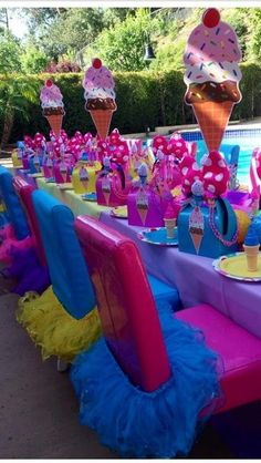 Ice Cream Birthday Party table! See more party ideas at CatchMyParty.com!
