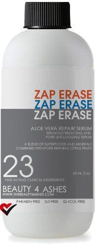 Aloe Vera Skin Repair Serum by Zap Erase. $19.99. No animal testing and hypoallergenic. Made with Fresh Aloe Vera. Filled with 17 Plant Active Ingredients. All Natural and Made Fresh to Order. SLS, SLES, Paraben, Glycol, Chloride and Alcohol Free. Zap blemishes fast. An all natural, bump blasting formula that speeds us pimple drying and reduces healing time. Cools irritation and fights against future breakouts. Features Aloe Vera, Patchouli, Kukui Nut, Willow Bark. A be...