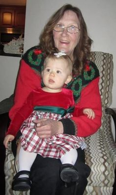 My sister Pat with her first granddaughter. Died at 65 Dec. last year. Breast Cancer Awareness, My Sister, Christmas Sweaters, First Love, Celebrities, Women, Fashion, Moda, Celebs