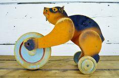 Vintage Children's Wooden Pull Toy Bear