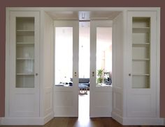 style doors in living room (en suite) Living Room Display Cabinet, Display Cabinets, Grey Interior Doors, Living Styles, Classic House, Built Ins, Home And Living, Building A House, Sweet Home