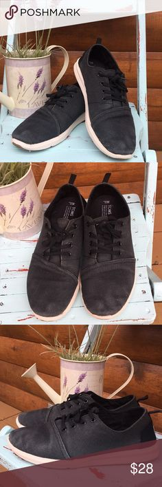 MENS Toms sneakers Black canvas lace up sneakers. Preloved with signs of wear and some fading (last pic) from use. Over all good condition. Toms Shoes Sneakers