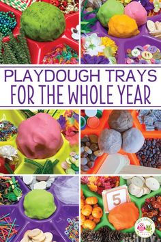 Find LOTS of ideas to put together playdough trays for the whole year. Your kids will love the unique materials in these playdough invitations to play. Preschool Centers, Preschool Classroom, Preschool Learning, Early Learning, Preschool Crafts, Kindergarten, Sensory Boxes, Sensory Play, Sensory Tubs