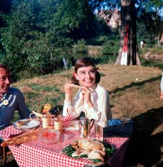 eating with Gary Cooper, on break from Love in the Afternoon, 1957.