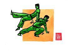 Encres : Capoeira – 518 [ #capoeira #watercolor #illustration]