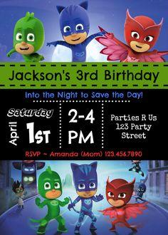 Pj Masks Birthday Invitation Template - Awesome Pj Masks Birthday Invitation Template , Pj Masks Party Invitations Kids Birthday by Elsa Birthday Party, 4th Birthday Parties, Boy Birthday, Birthday Ideas, Party Invitations Kids, Birthday Invitation Templates, Pjmask Party, Party Ideas, Festa Pj Masks