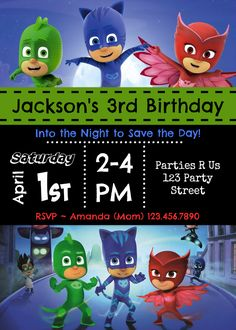 PJ Masks Birthday Party Invitation Elsa 5th Ideas