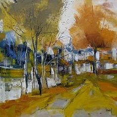 Nacido en Bretaña en 1960, Hervé Lenouvel siempre ha sido un apasionado de la pintura y el dibujo. Su infancia se desarrolla en el ca... Landscape Artwork, Abstract Landscape Painting, Watercolor Landscape, Abstract Art, Watercolor Images, Watercolor Artists, Watercolor Paintings, Autumn Painting, Herve