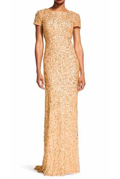 9f44de0964b Adrianna Papell Gold Scoop Back Sequin Cap Sleeve Dress Gown