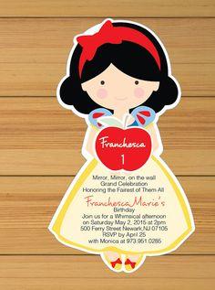 Snow white invitation - printed